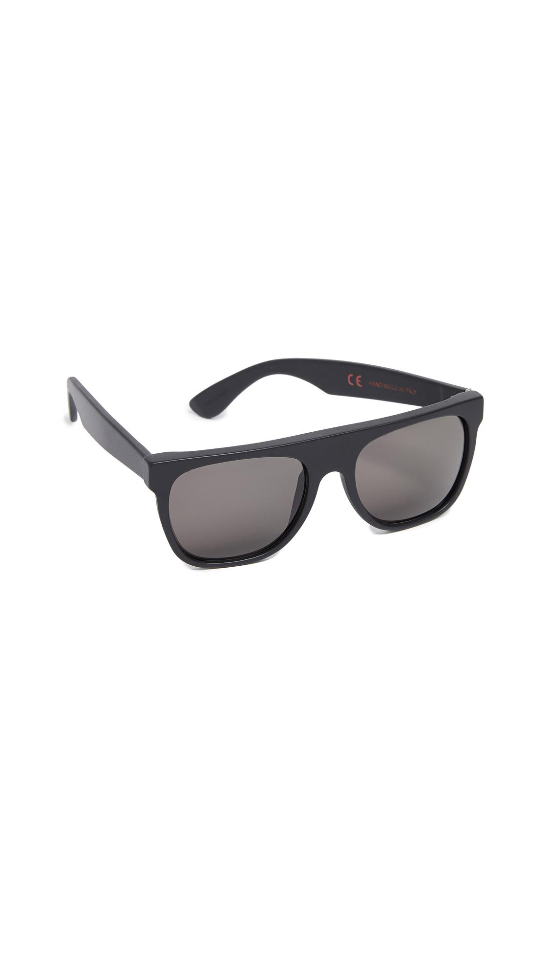 SUPER SUNGLASSES Flat Top Sunglasses in Matte Black