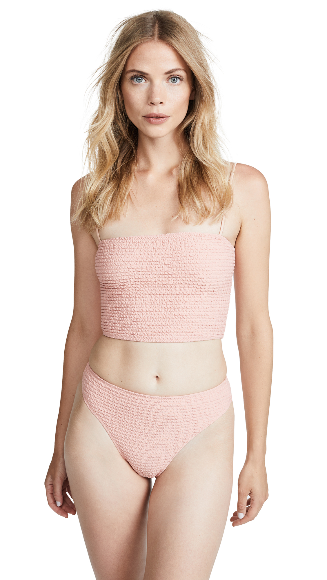 SAME SWIM The Cindy Crop Top In Textured Blush