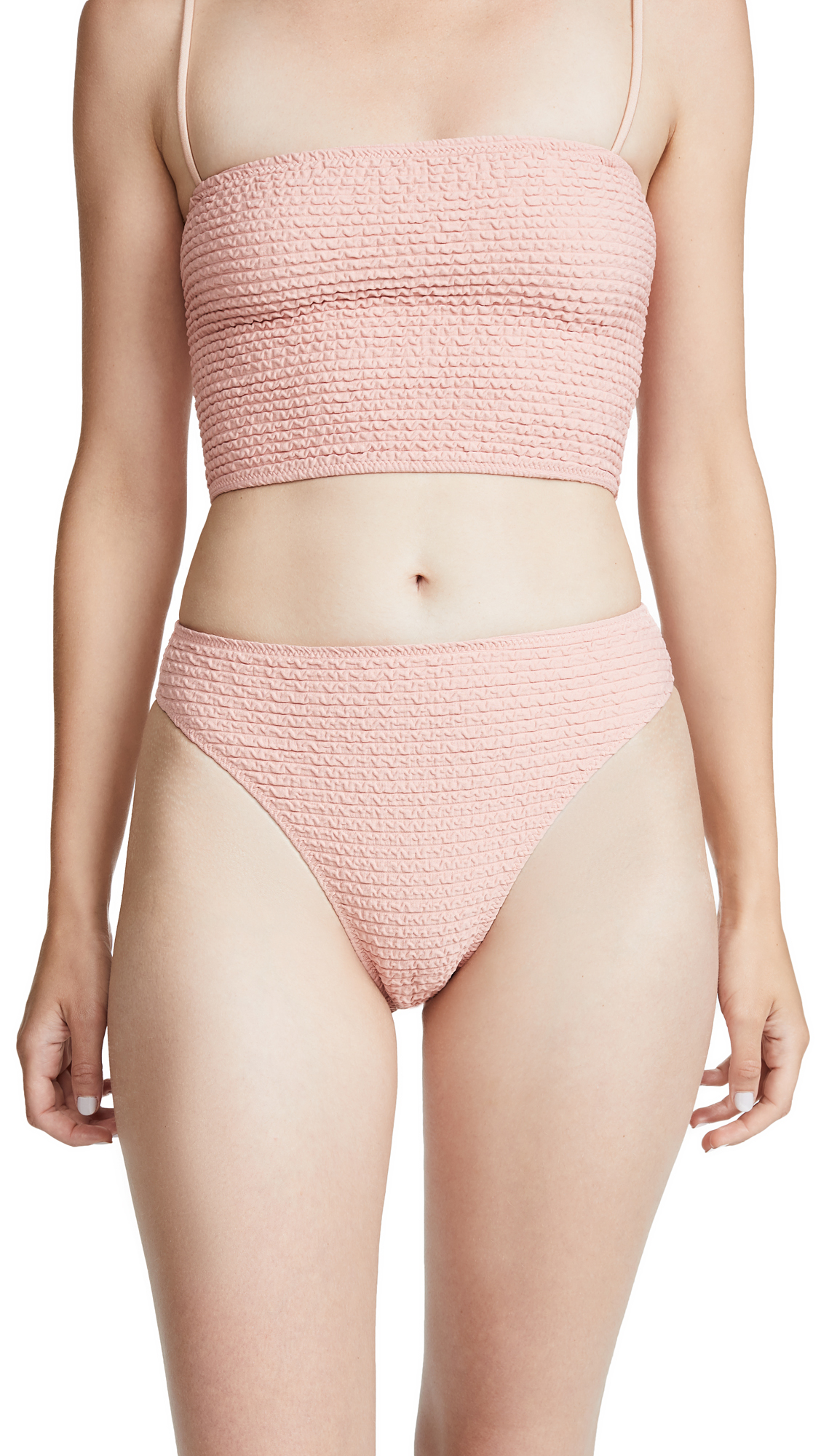 SAME SWIM The Cindy High Rise Bottoms in Textured Blush