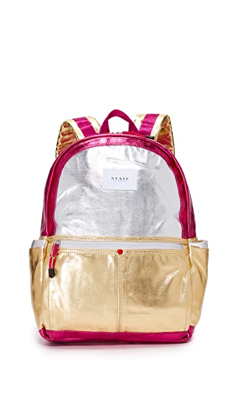 STATE Kane Downtown Backpack In Silver/Rose Gold