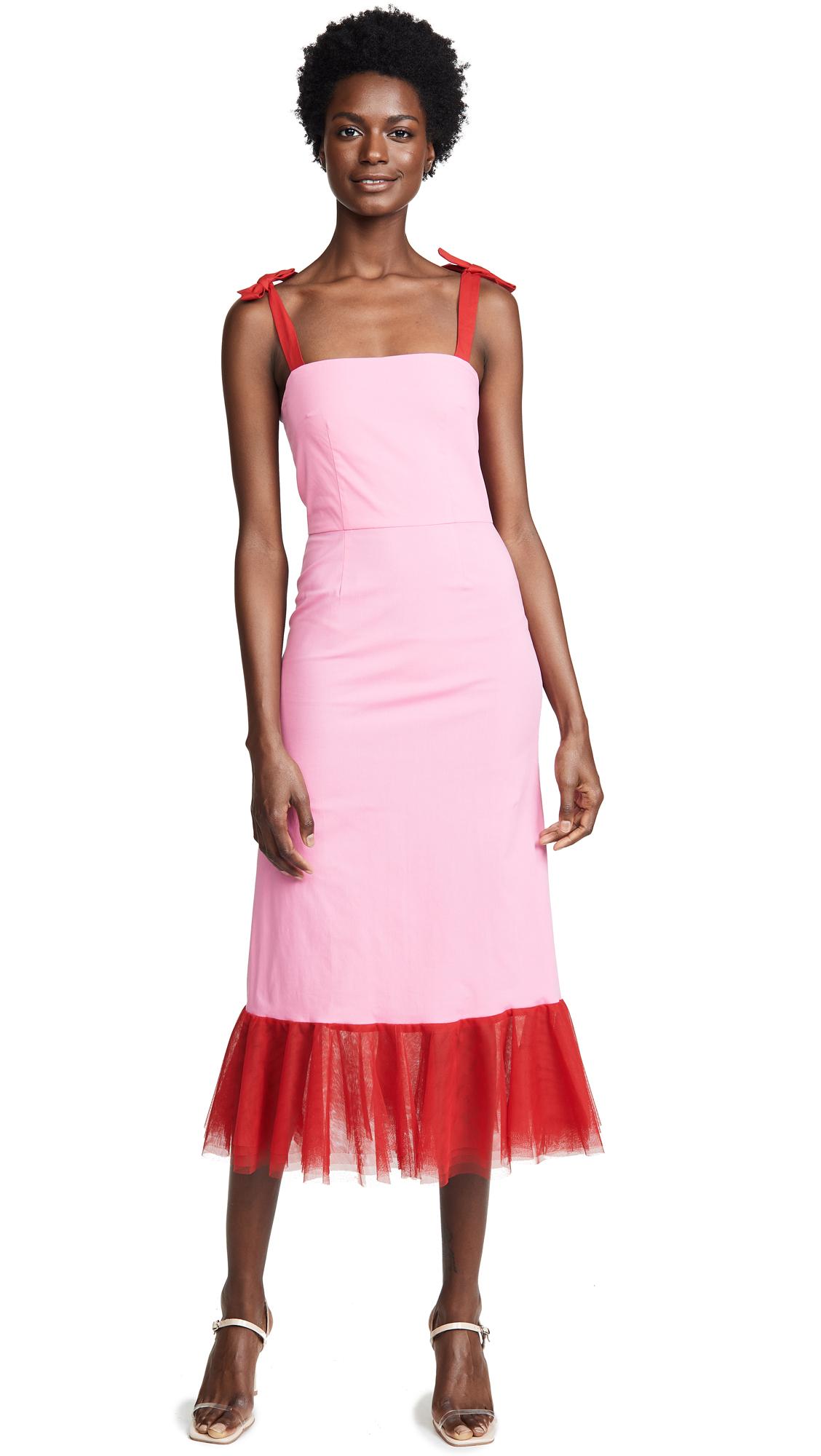 STAUD Langdon Dress In Pink/Red