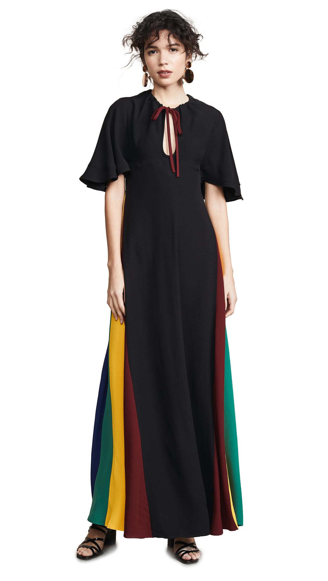 Victorian Rainbow Godet Dress in Black/Multi