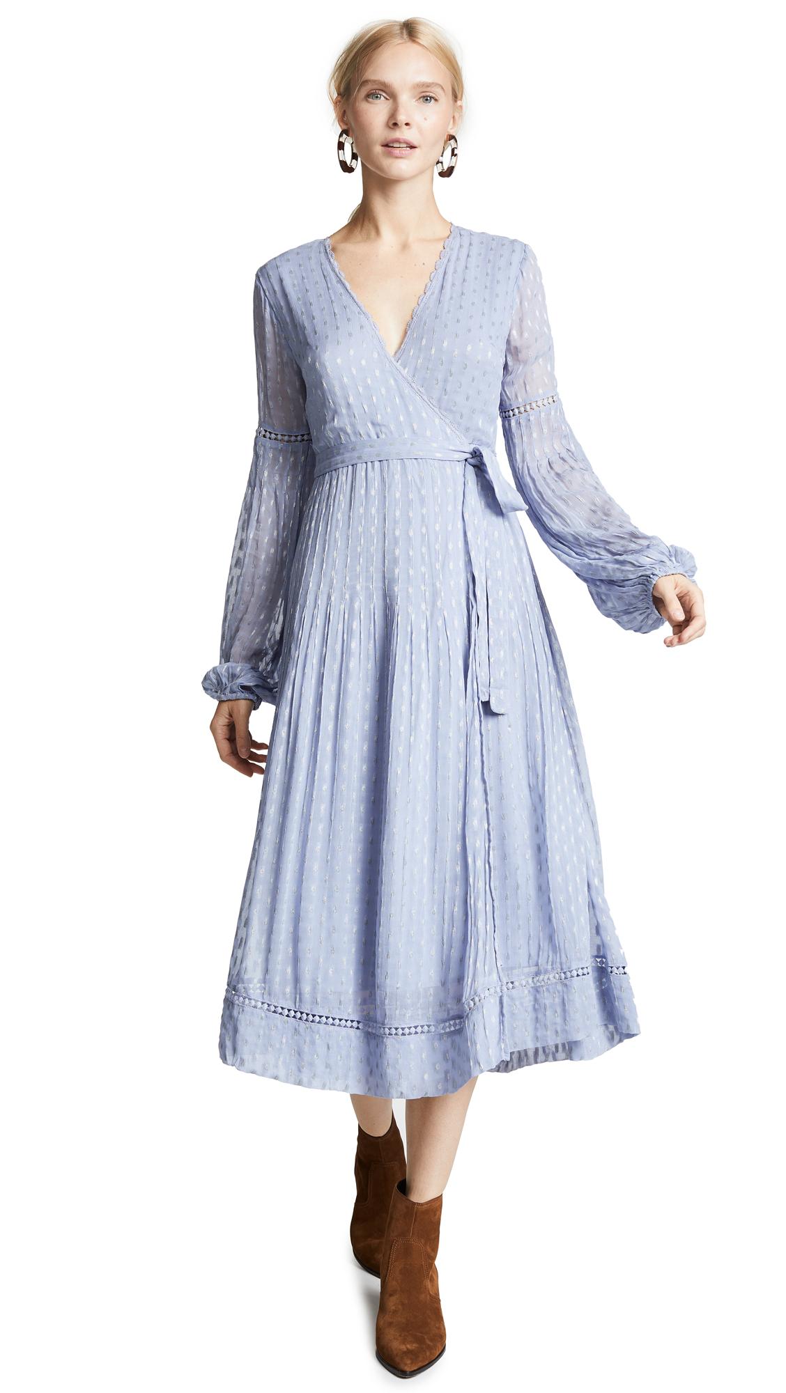 STEELE Luella Wrap Dress in Powder Blue
