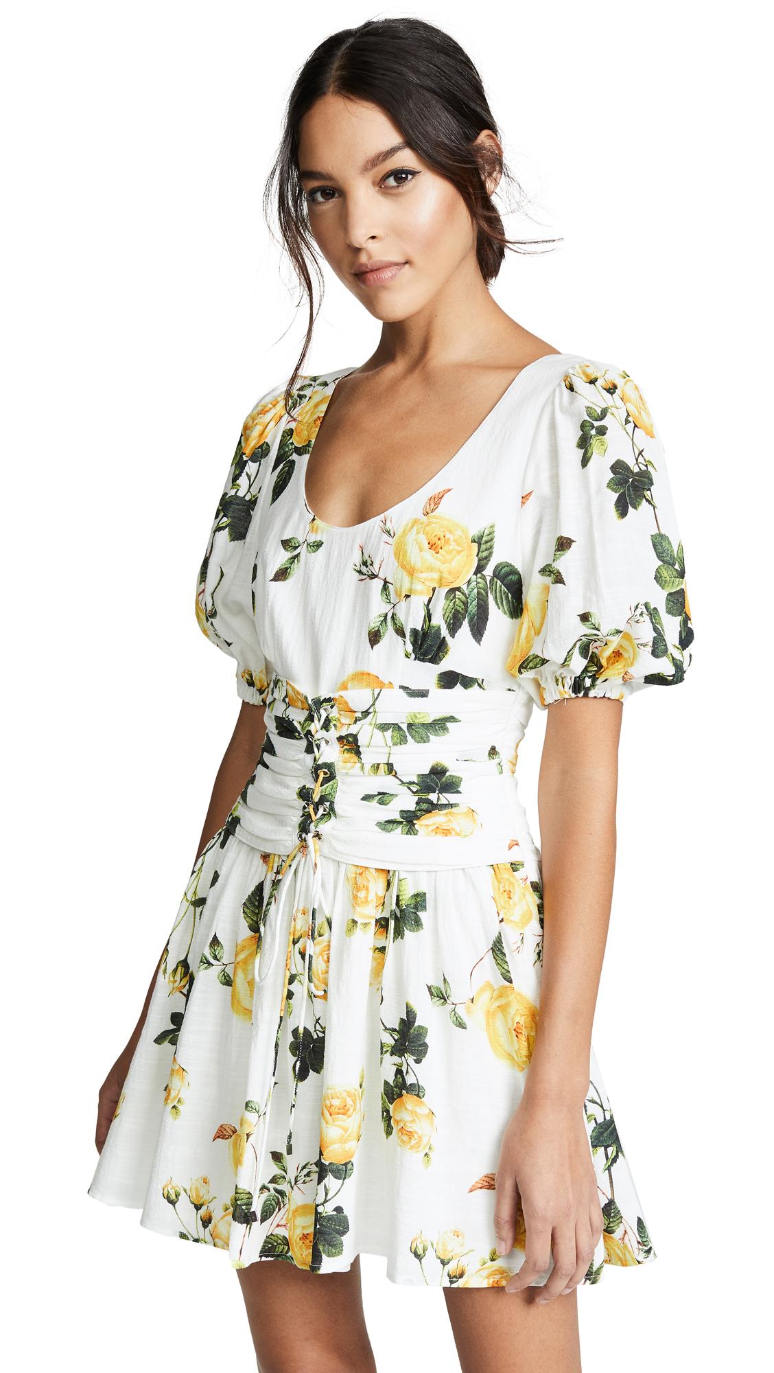 STEELE Sofia Bustier Dress in Lemon Rosetta