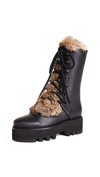 Steiger Tall Fur Combat Boots In Nero