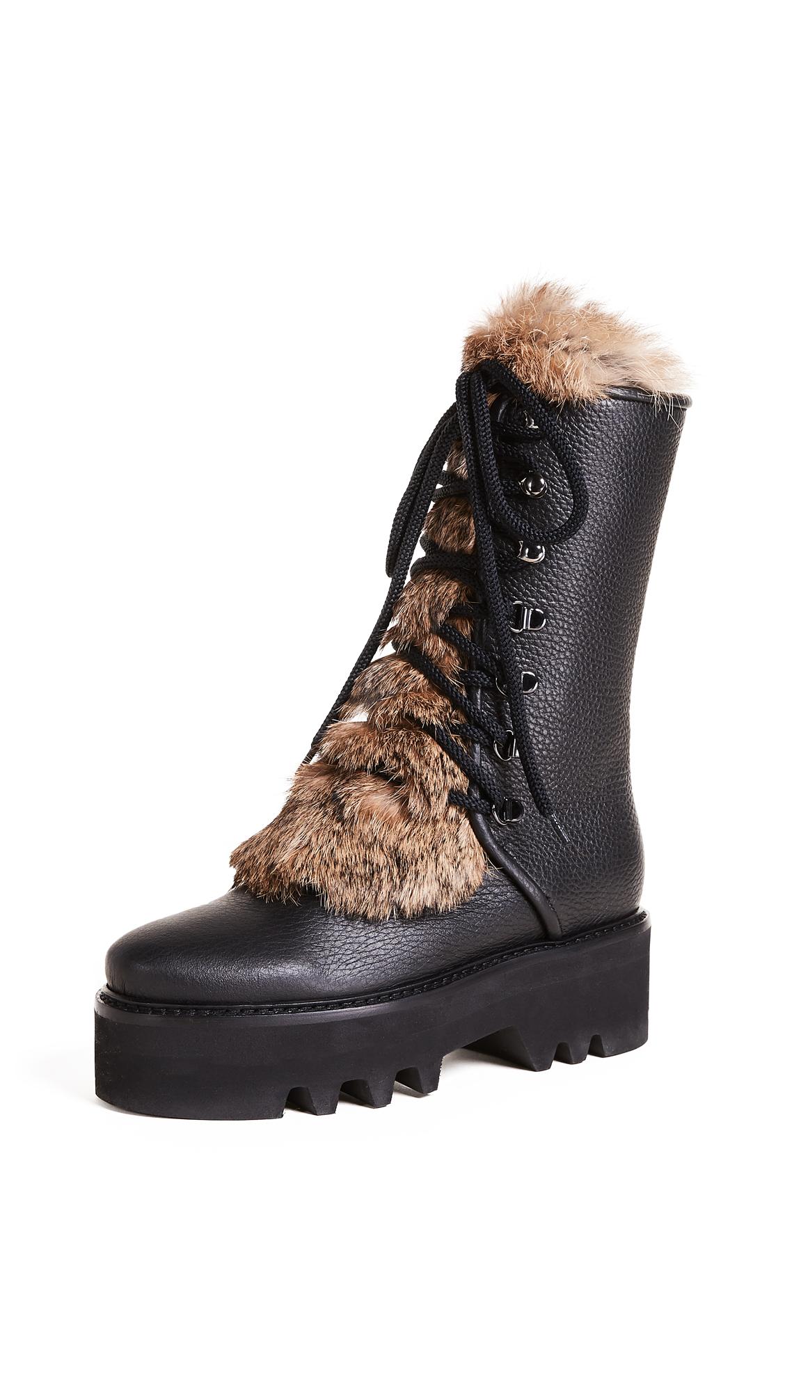Steiger Tall Fur Combat Boots - Nero