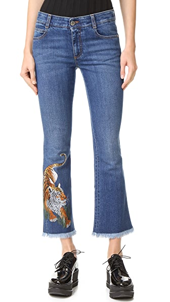Stella McCartney Tiger Embroidered Skinny Kick Jeans