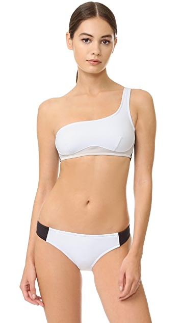 Stella McCartney Stella Iconic Colorblock One Shoulder Bikini Top