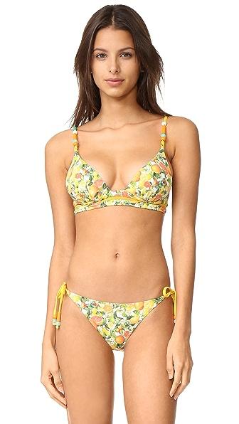 Stella McCartney Iconic Prints Plunge Bikini Top - Yellow Citrus Print