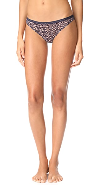 Stella McCartney Fleur Dancing Bikini Briefs - Dark Ink/Mahogany Rose