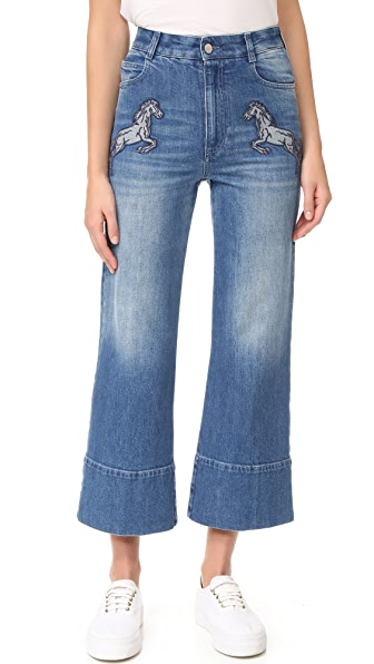 Denim Flared Cropped Jeans
