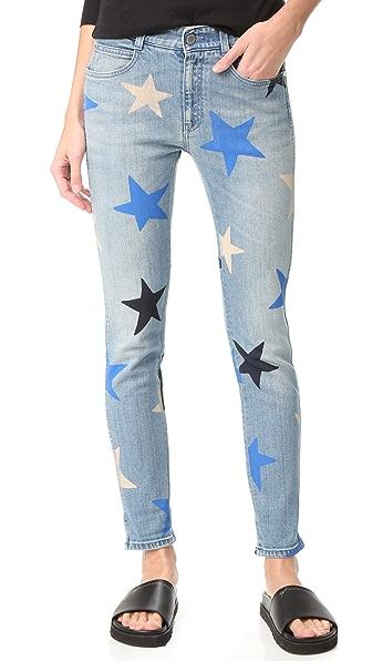 Stella McCartney Узкие джинсы-бойфренды с принтом в виде звезд