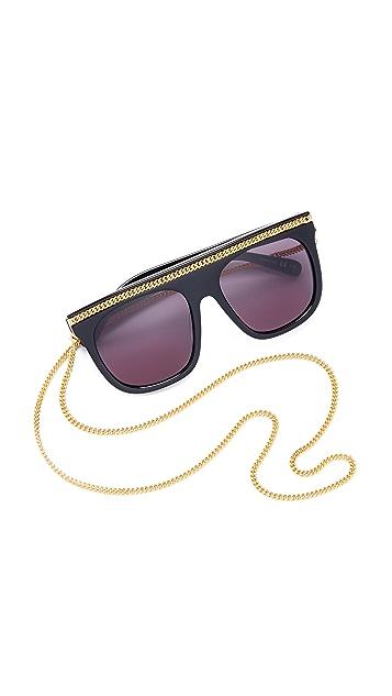 Stella McCartney Falabella Chain Flat Top Sunglasses