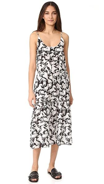 Stella McCartney Iconic Prints Maxi Dress In Black/White Horses