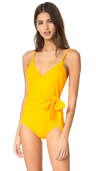 Stella McCartney Timeless Basics Wrap Swimsuit In Spectra Yellow
