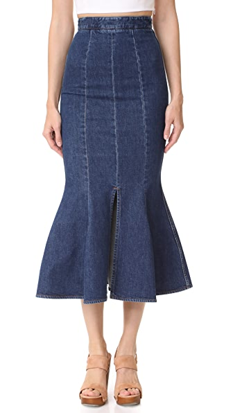 Stella McCartney Flared Denim Skirt In Midnight