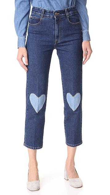 Stella McCartney Heart Patch Crop Jeans