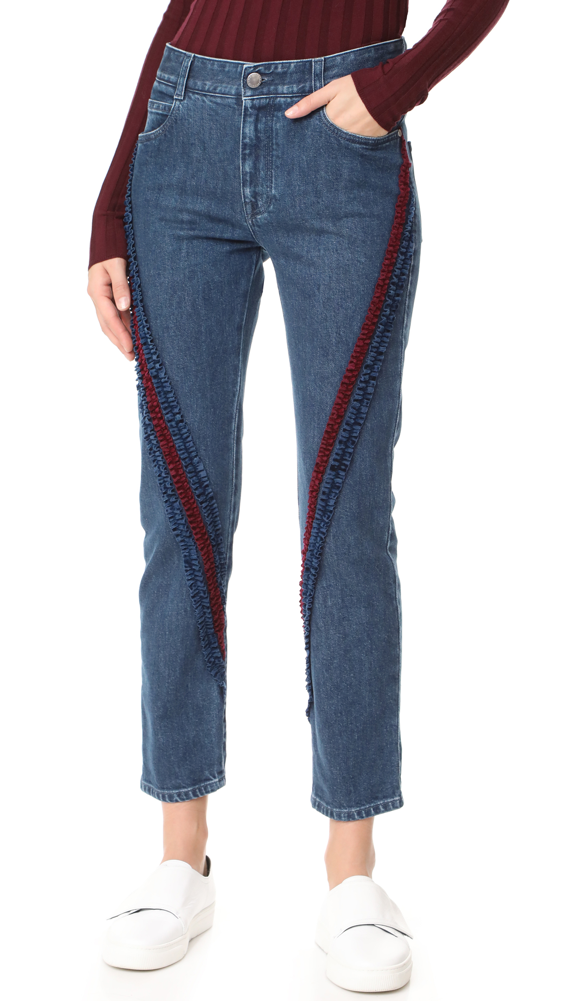 Stella McCartney The Boyfriend Velvet Ribbon Detail Jeans - Midnight