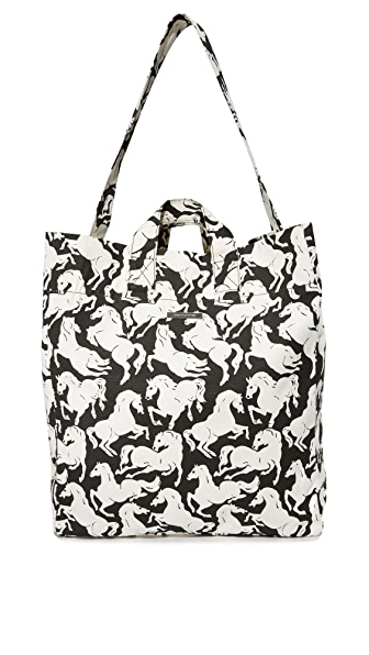 Stella McCartney Horse Print Beach Bag - Black/White