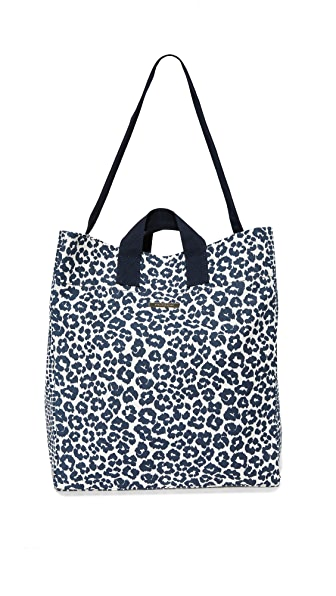 Stella McCartney Leopard Print Beach Bag - Midnight Blue