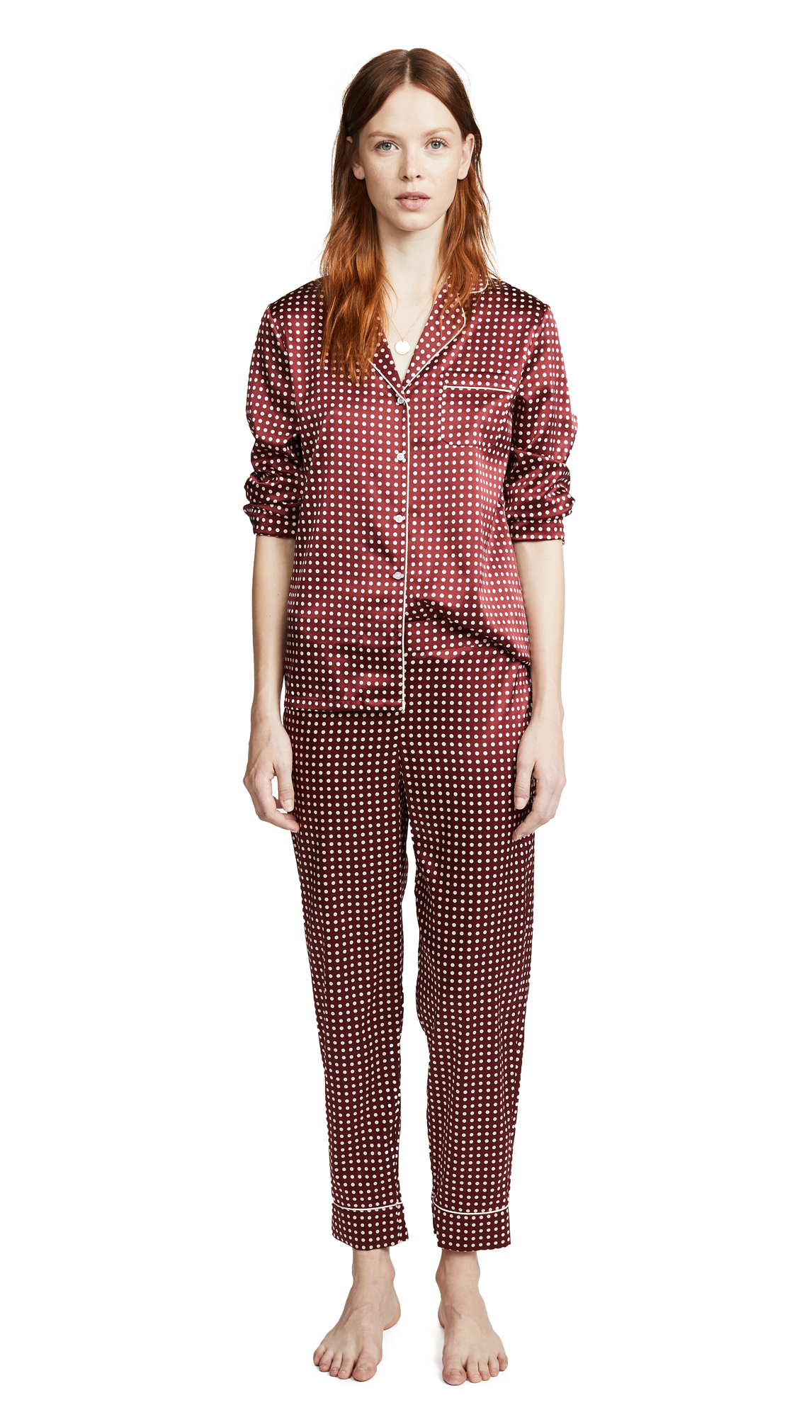 Stella McCartney Poppy Snoozing Long Pajama Set In Red Polka Dot