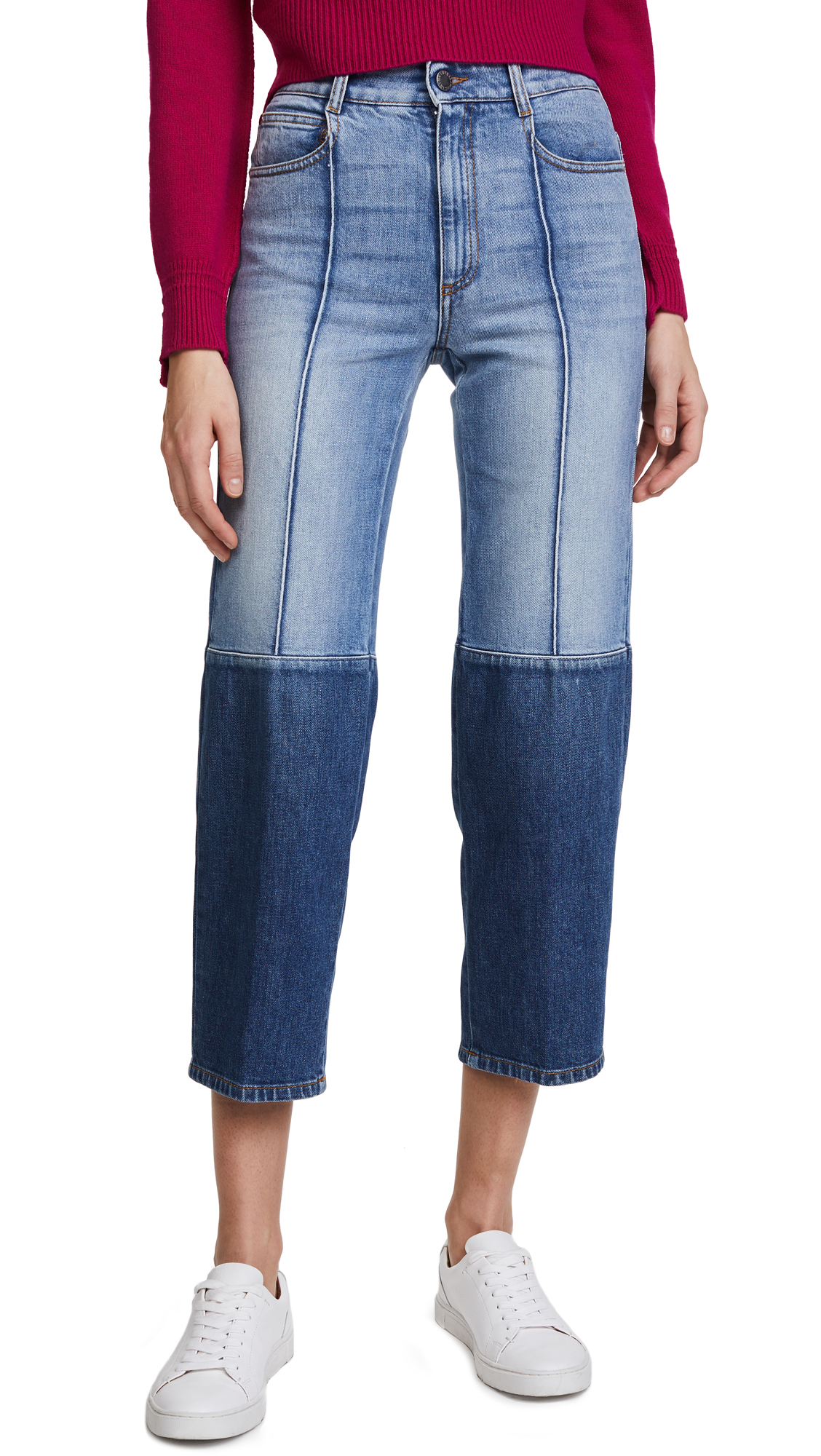 Stella McCartney The High Waist Two Tone Jeans In Blue