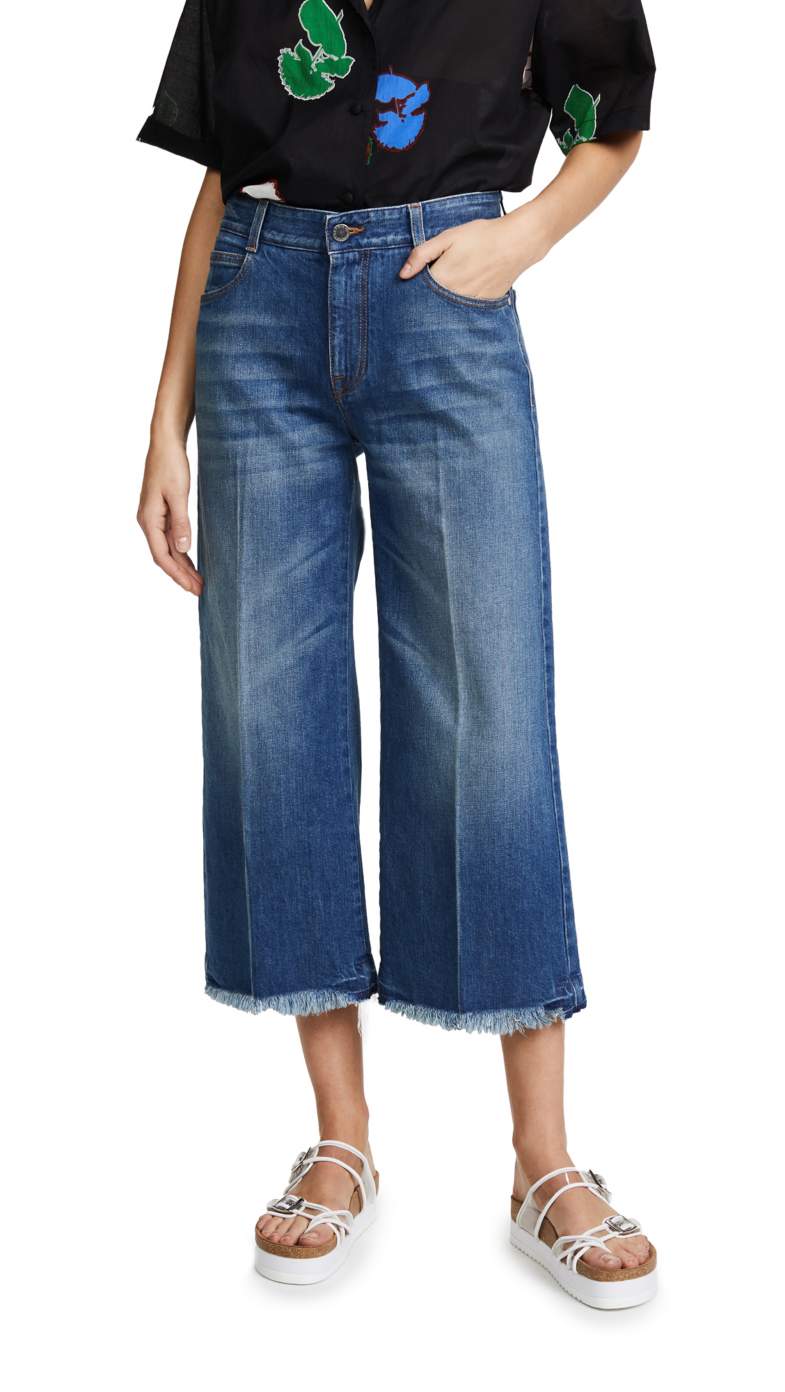 Stella McCartney Cropped Wide Leg Jeans - Classic Blue