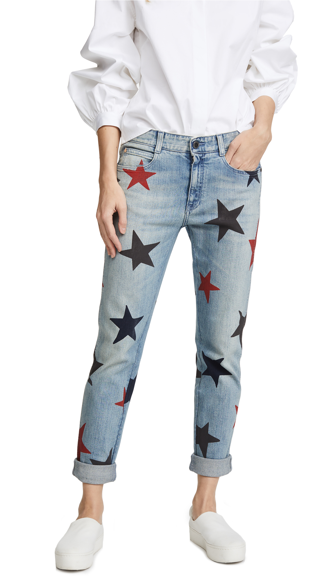 Stella McCartney The Skinny Boyfriend Jeans with Stars - Blu Jeans