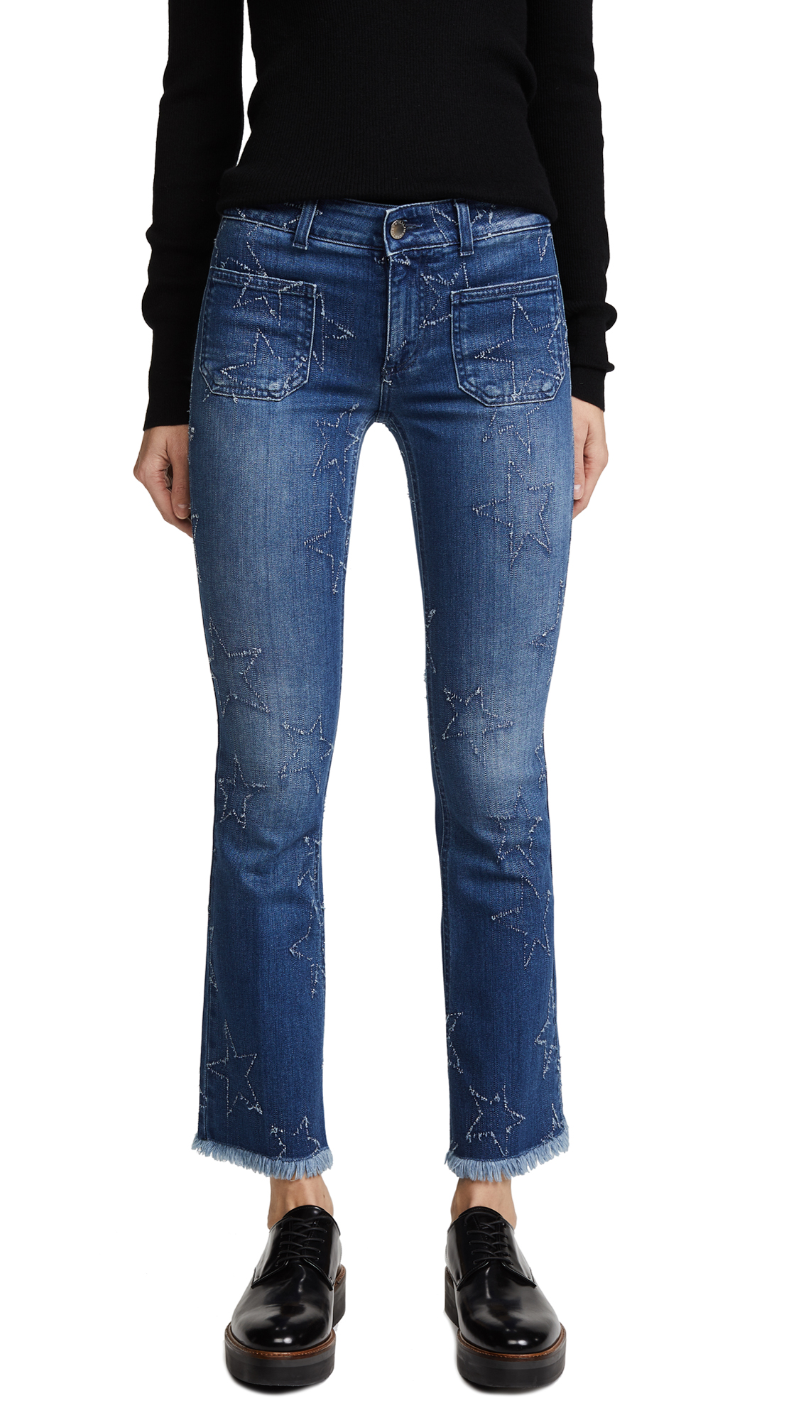 Stella McCartney The Skinny Kick Patch Jeans - Deep Blue