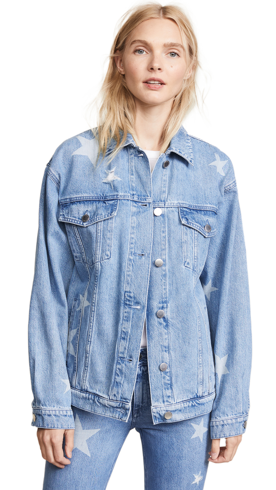 Stella McCartney Denim Stars Jacket In Light Blue