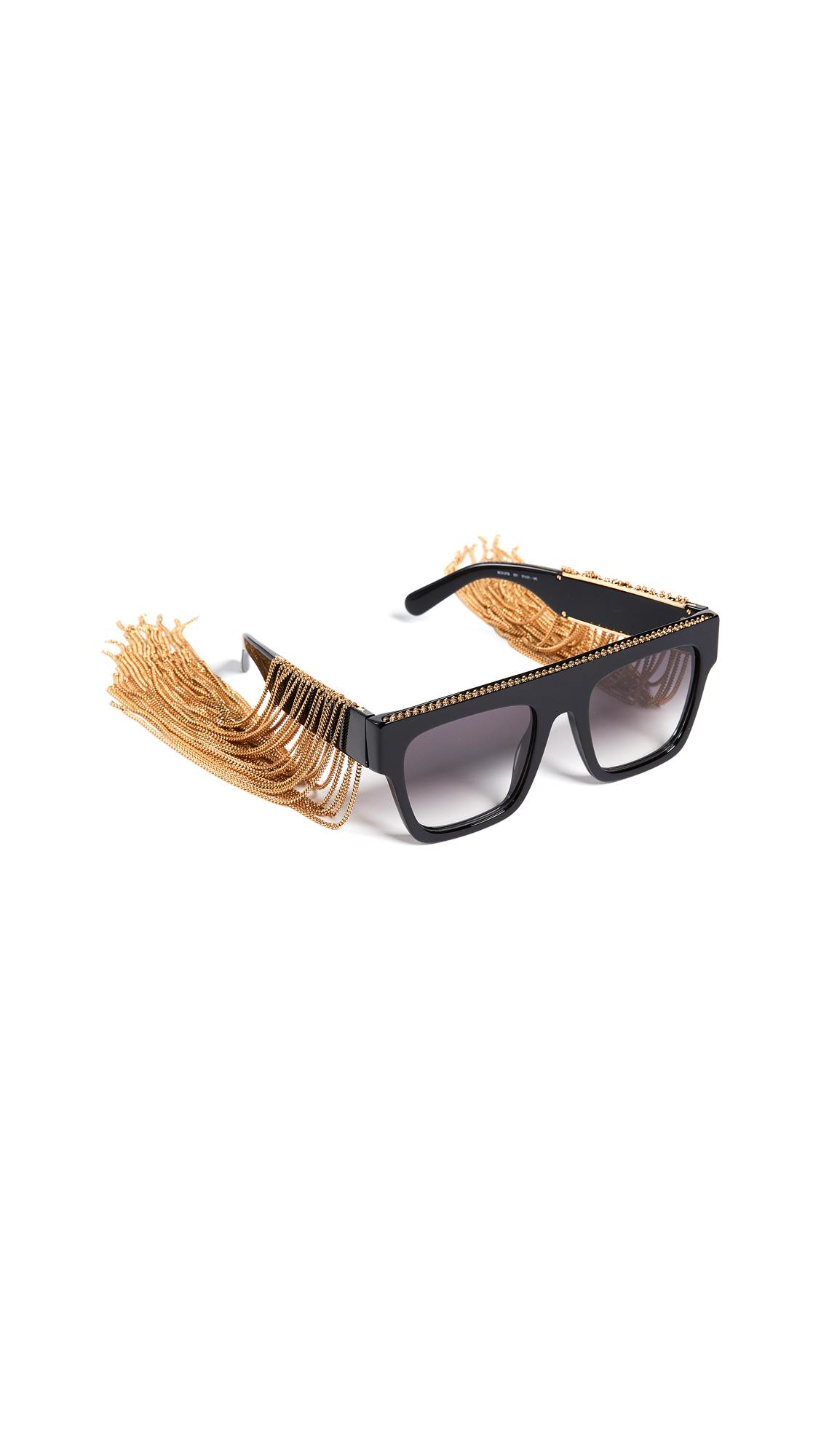 2257837aba9e Stella McCartney Rectangular Sunglasses with Hanging Chain Detail ...