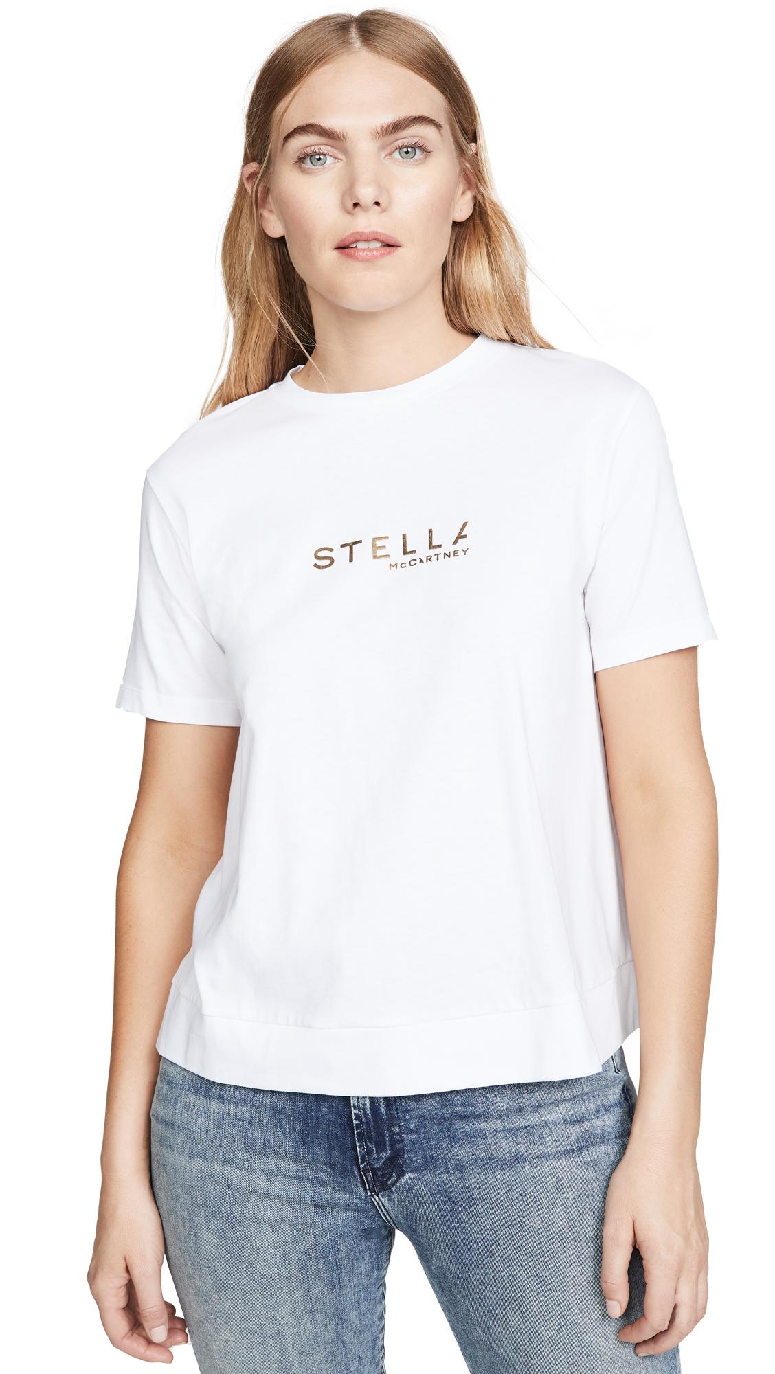 Buy Stella McCartney online - photo of Stella McCartney Gold Logo Jersey Tee