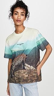 Stella McCartney 豹纹景色平纹针织 T 恤