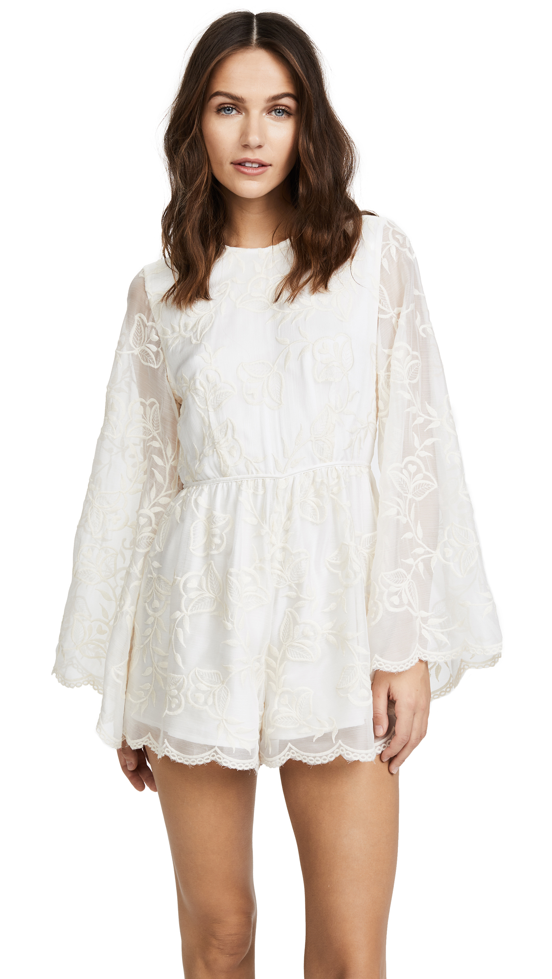 Stevie May Redefining Embroidered Playsuit - White