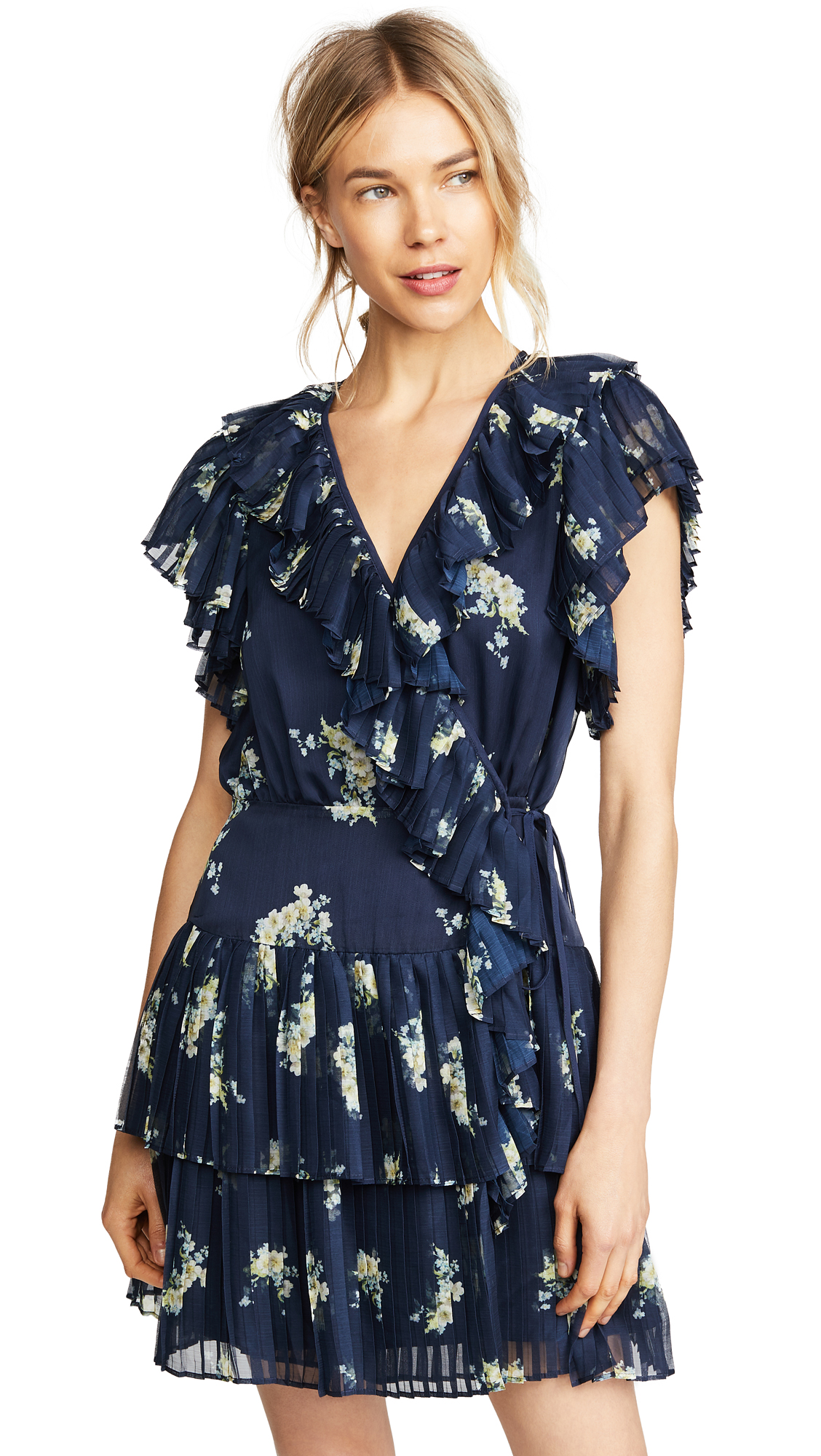 Stevie May Midnight Blooms Wrap Mini Dress In Navy Vintage Floral Print