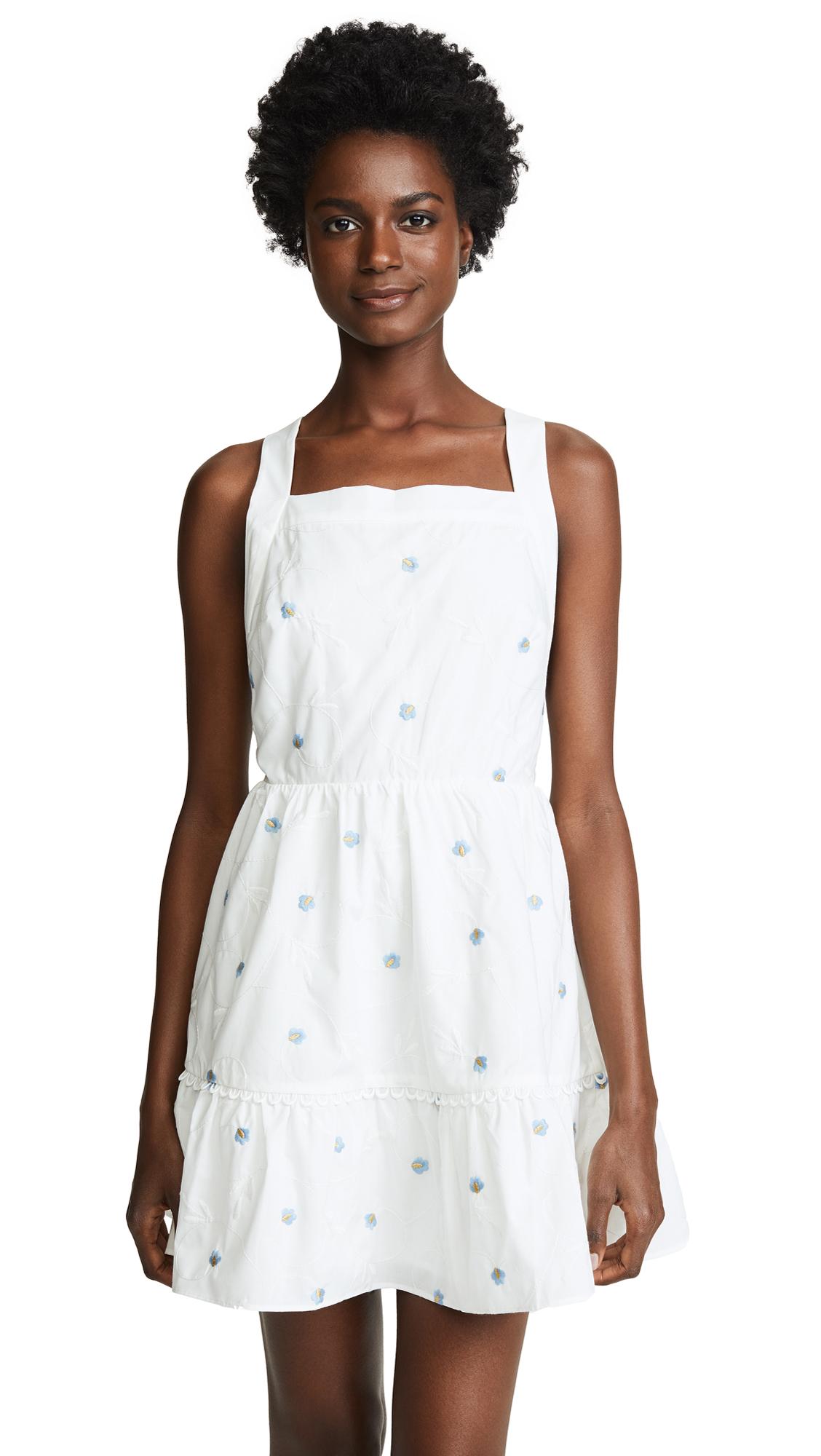 Stevie May Delirium Apron Mini Dress In Off White/Stone Blue