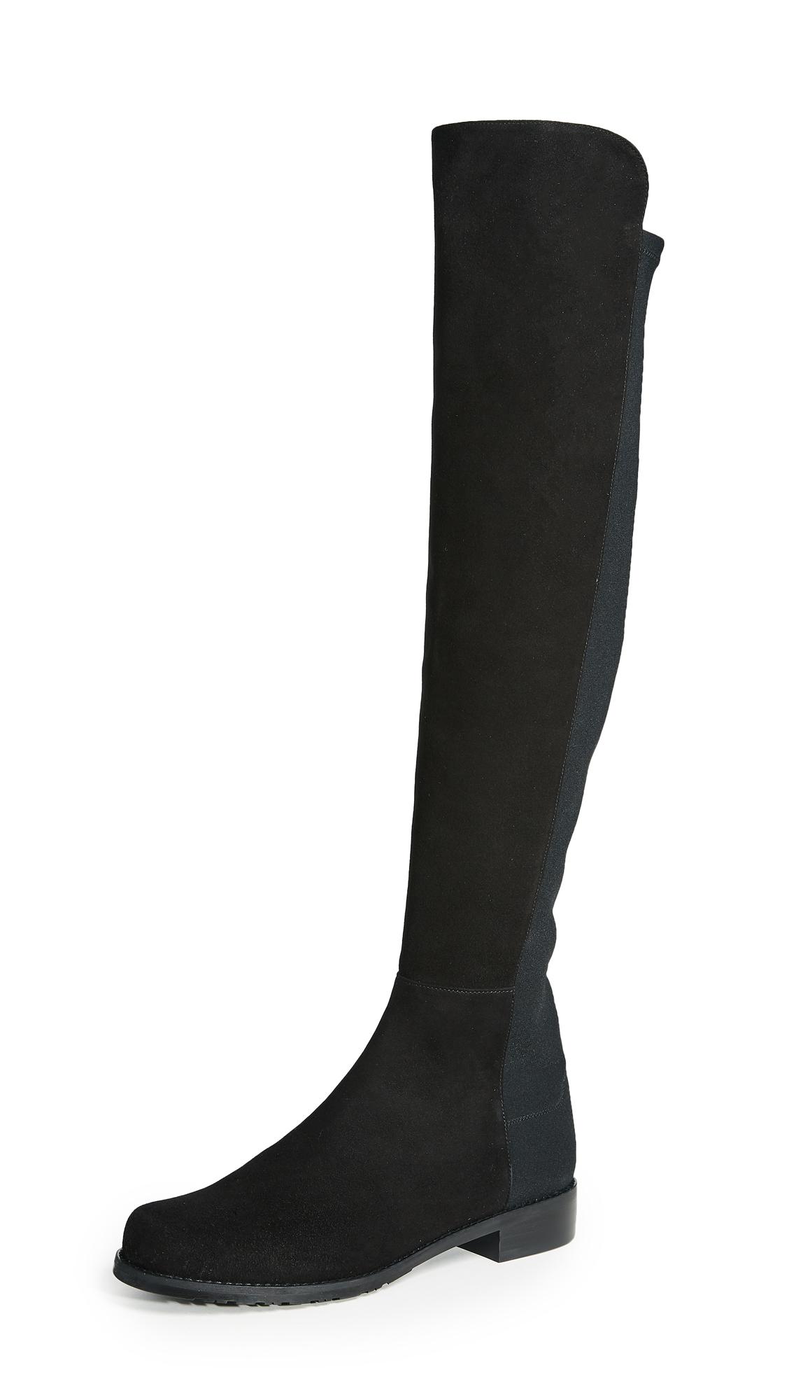 Stuart Weitzman 5050 Stretch Suede Boots - Black