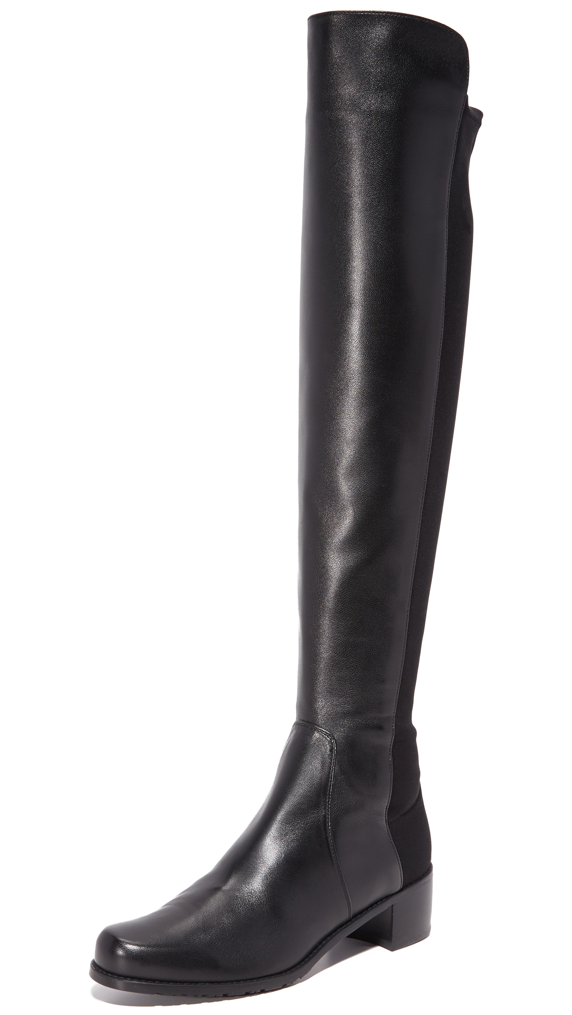 A tonal panel of soft elastic contours the silhouette of these over the knee boots, constructed in smooth leather. Rubber sole. Leather: Goatskin. Imported, China. This item cannot be gift boxed. Measurements Heel: 1.5in / 38mm Shaft: 21