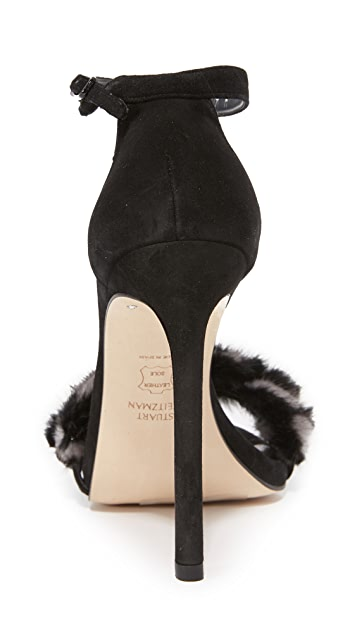 Stuart Weitzman No Bunny Hop Fur Sandals