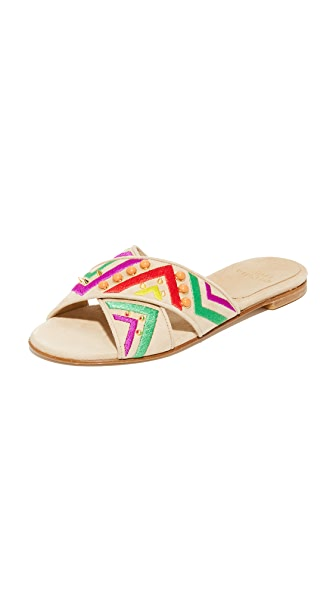 Stuart Weitzman Buttoncandy Crisscross Slides - Beach