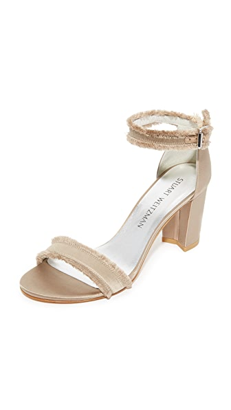 Stuart Weitzman Frayed Sandals - Misty