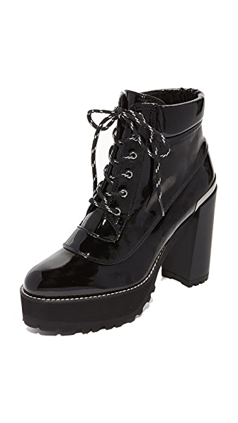 Stuart Weitzman Rugged Platform Booties - Black