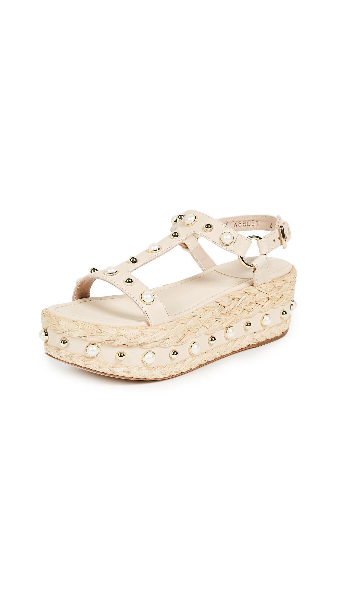Stuart Weitzman Be Raffia Flatform Sandals - Pan