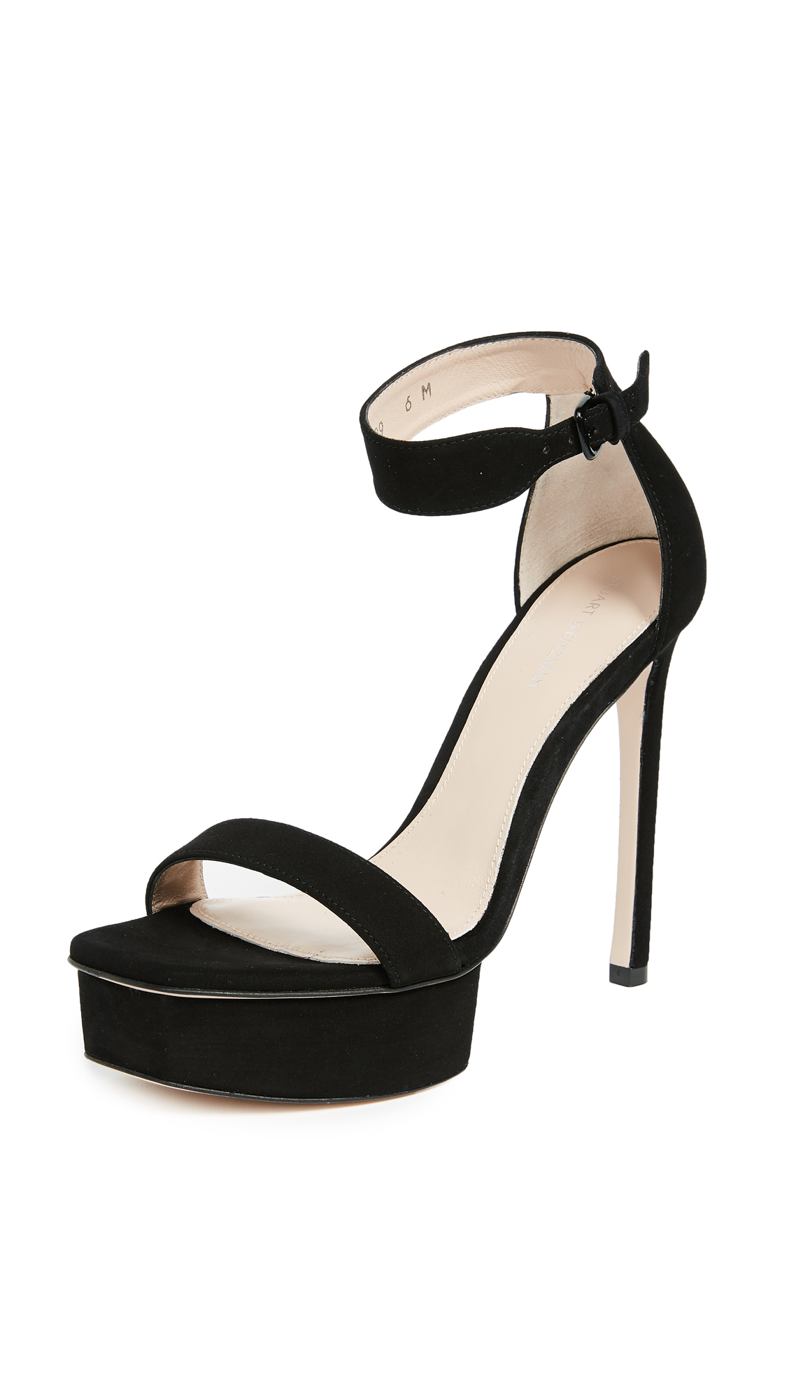 Stuart Weitzman Backup Platform Sandals - Black