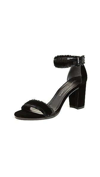 Stuart Weitzman Frayed Sandals In Black