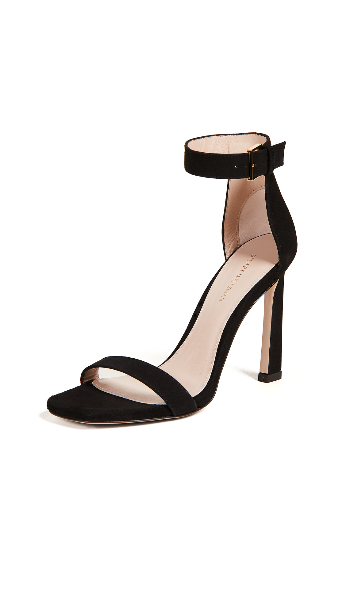 Stuart Weitzman Square Nudist 100mm Sandals - Black
