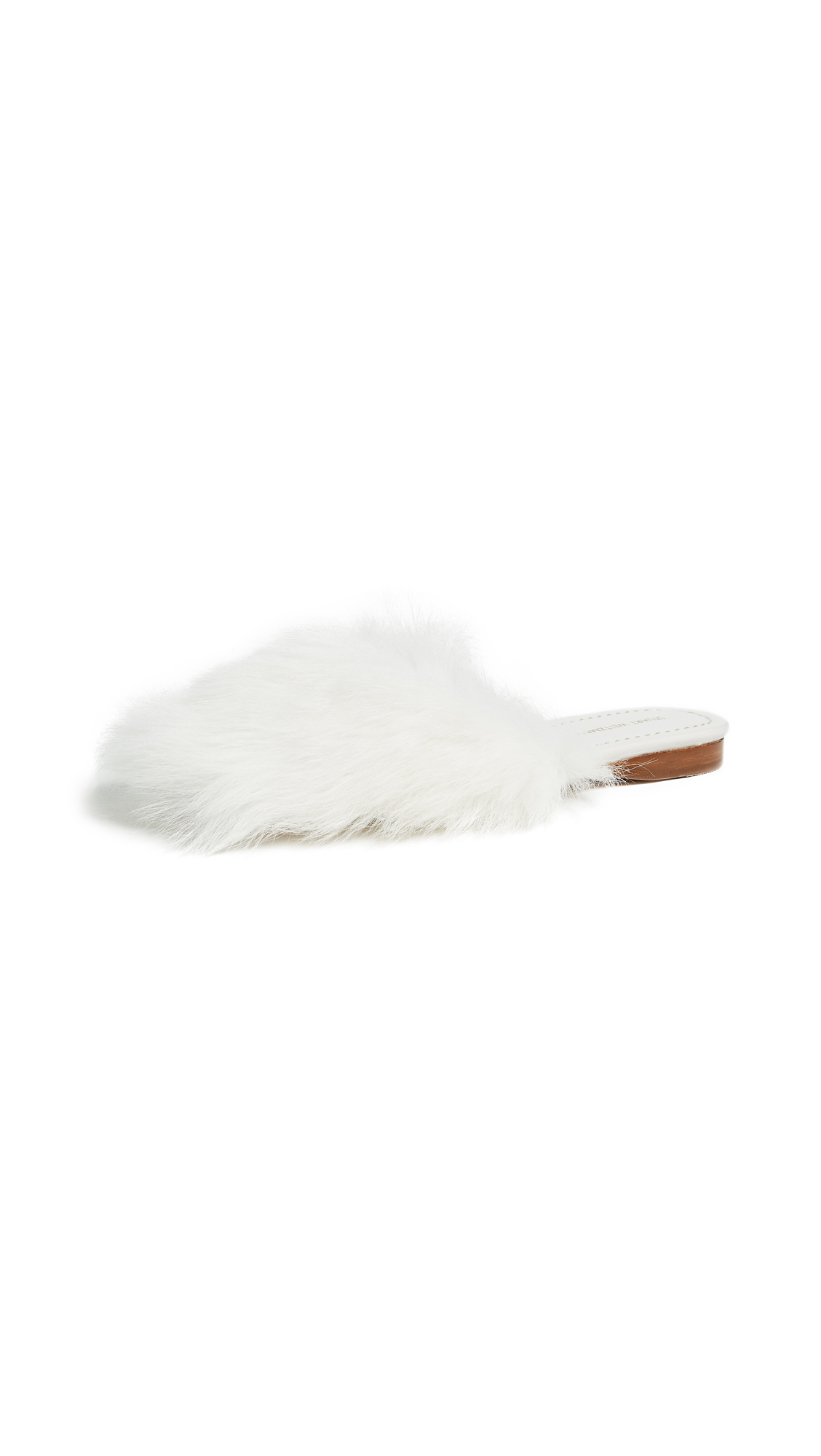 Stuart Weitzman Fur chic Slides - White