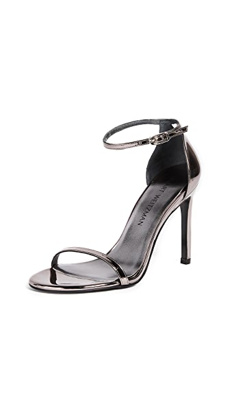 Stuart Weitzman Nudistsong Patent Ankle-wrap Sandals In Pewter