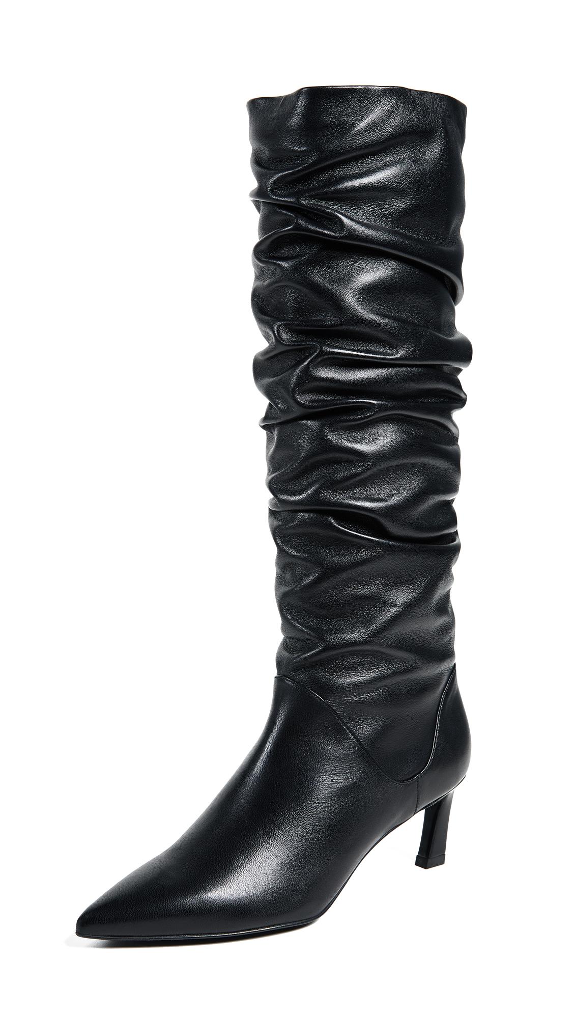 Stuart Weitzman Benatar Tall Scrunch Boots - Black