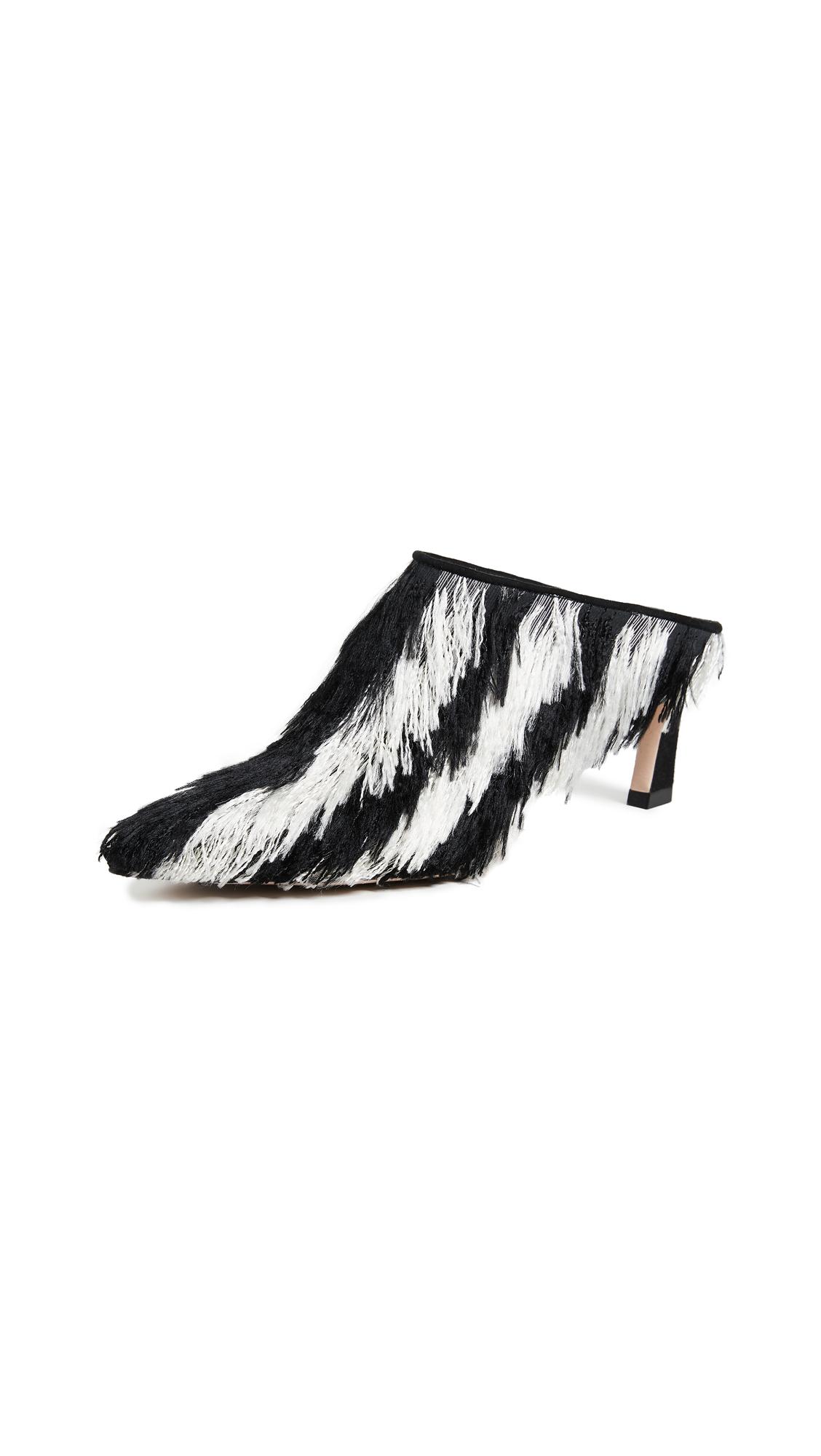 Stuart Weitzman Mira Lashes Mules - Cream Stripe